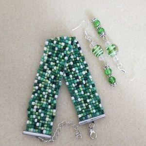 Jewelry - Multiple green seed beaded loom bracelet with earr